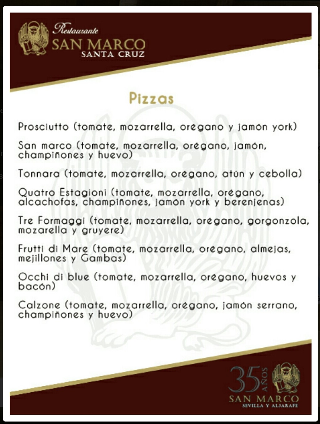 Folleto/Carta digital de Restaurante SAN MARCOS Triana